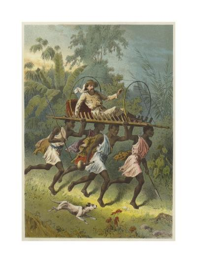 African Explorer Travelling on a Litter Carried by Natives--Giclee Print