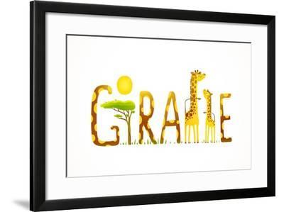 African Giraffe Animals Fun Lettering Landscape. Brightly Colored Childish Cartoon Sign. Vector Ill-Popmarleo-Framed Art Print