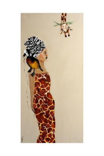 African Lady with Duck and Giraffe, 2016-Susan Adams-Giclee Print