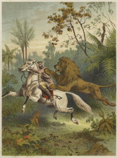 African Traveller Attacked by a Lion--Giclee Print