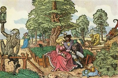 After a 16th Century Woodcut by Peter Flötner Entitled the Hazards of Love, Lovers in a Garden--Giclee Print