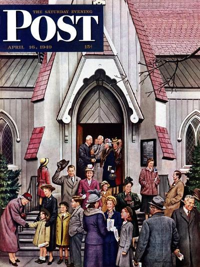 """""""After Church,"""" Saturday Evening Post Cover, April 16, 1949-Stevan Dohanos-Giclee Print"""