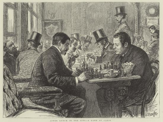After Lunch in the City, a Game of Chess--Giclee Print