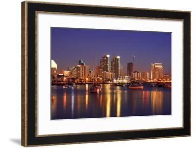 After Sunset,San Diego Skylines-sunnyart-Framed Photographic Print