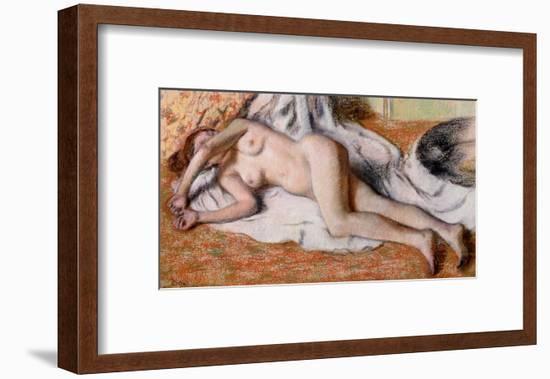 After the Bath Or, Reclining Nude, circa 1885-Edgar Degas-Framed Giclee Print