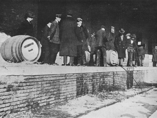 'After the Declaration of War: German beer being run away at an Italian Customs store', 1915-Unknown-Photographic Print