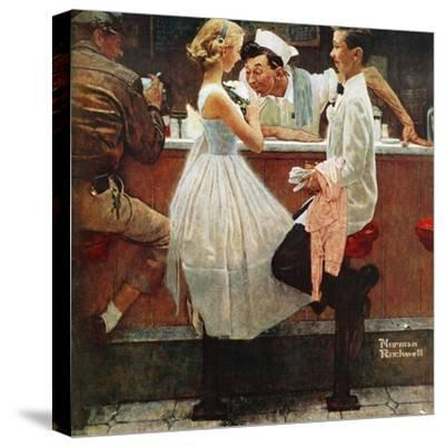 """After the Prom"", May 25,1957-Norman Rockwell-Stretched Canvas Print"