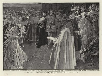 After the Queen's Coronation, Her Majesty Bowing to the King-William T^ Maud-Giclee Print