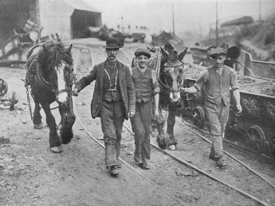 'After the settlement: Miners taking their ponies back to the pit', 1915-Unknown-Photographic Print