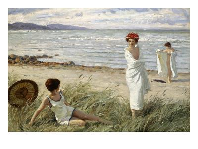 After the Swim at Hornbaek Beach, Denmark-Paul Fischer-Giclee Print