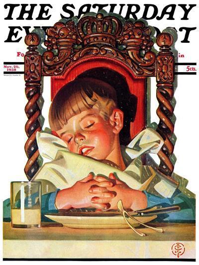 """After Turkey Nap,"" Saturday Evening Post Cover, November 26, 1938-Joseph Christian Leyendecker-Giclee Print"