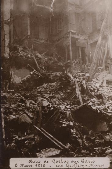 Aftermath of a Raid by German Gotha Bombers, Rue Geoffroy Marie, Paris , World War I, 8 March 1918--Photographic Print