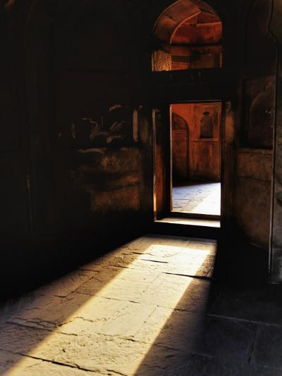Afternon sunlight through doorway, Tomb of Mohammed Shah, Lodhi Gardens, New Delhi, India-Adam Jones-Photographic Print