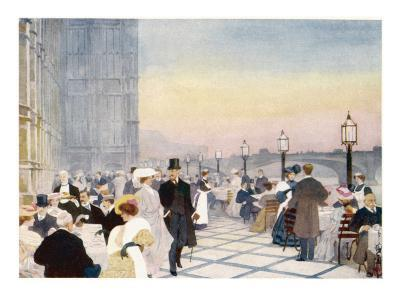 Afternoon Tea on the Terrace of the House of Commons, Westminster, London--Giclee Print