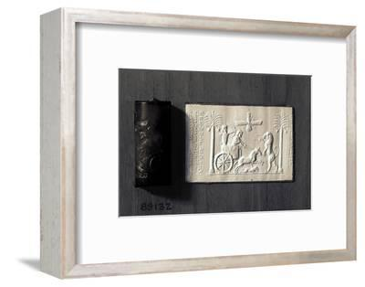 Agate cylinder seal and impression depicting the Persian King Darius, 521-485 BC-Werner Forman-Framed Photographic Print