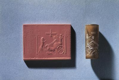 Agate Cylinder Seal of Darius I Depicting King Hunting Lion from Chariot and God Ahura Mazda--Giclee Print