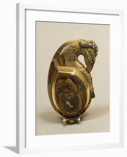 Agate Snuffbox in Shape of Ram's Head, with Gold Mount and Set with Rose-Cut Diamonds, around 1760--Framed Giclee Print