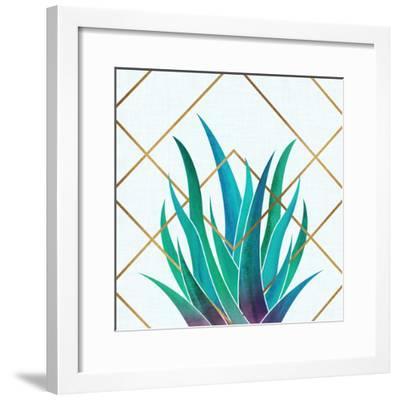 Agave With Geometrics-Modern Tropical-Framed Art Print