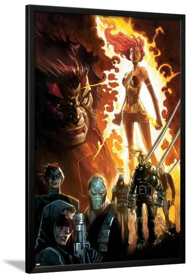 Age of Apocalypse No.1 Cover: Phoenix Standing and Flaming, with Wolverine and Others-Humberto Ramos-Lamina Framed Poster