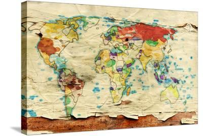 Aged Map Board--Stretched Canvas Print