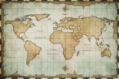 Aged Old World Map-Andrey Kuzmin-Art Print