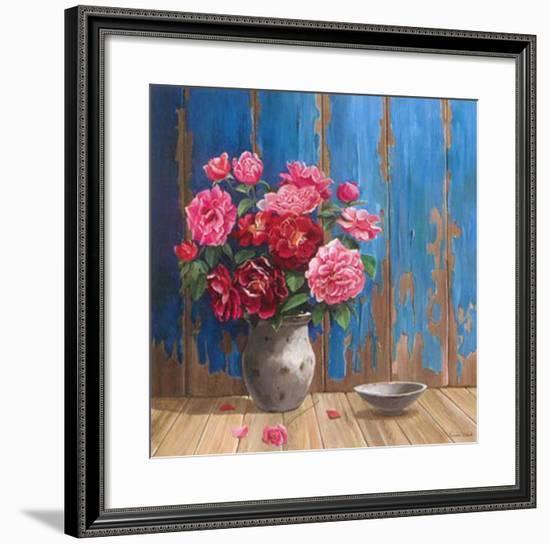 Aged Wood and Roses-Karin Valk-Framed Art Print