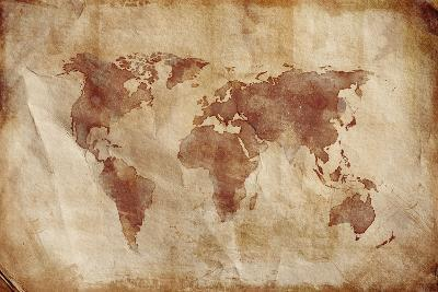 Aged World Map on Dirty Paper--Art Print