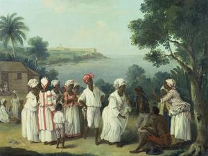 Natives Dancing in the Island of Dominica, Fort Young Beyond by Agostino Brunias