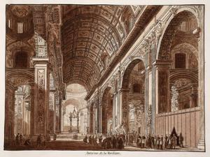 Interior of St. Peter's Basilica, 1833 by Agostino Tofanelli
