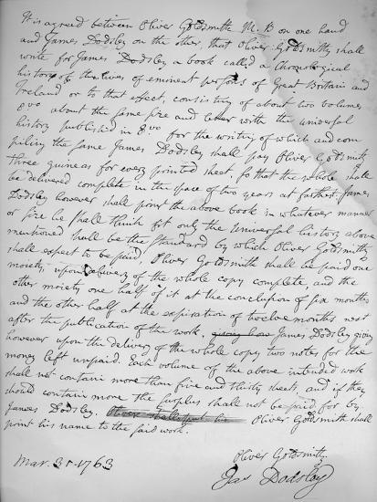 Agreement By Oliver Goldsmith To Write For James Dodsley 31st March