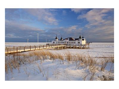Ahlbeck Pier and Beach, Baltic Sea Resort of Ahlbeck, Usedom, Germany--Art Print