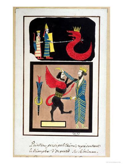 Ahura Mazda Triumphing over Angra Mainyu, Copy of a Frieze from Persepolis--Giclee Print