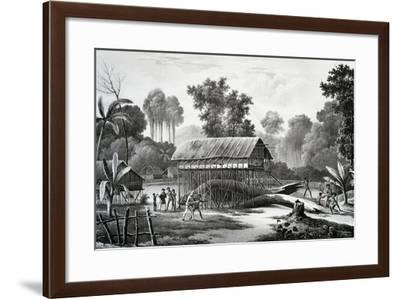 Aiambo Village on Heights of Dorey, Engraving from Painting by Louis-Auguste De Sainson--Framed Giclee Print