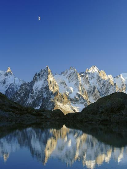 Aiguilles de Chamonix and and Mont Blanc reflected in Lac Blanc at sunset-Frank Lukasseck-Photographic Print