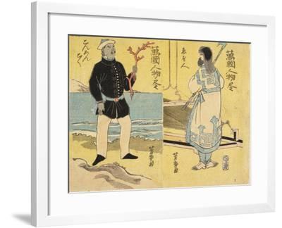 Ainu (Right), Malayan(Left)-Utagawa Yoshiiku-Framed Giclee Print