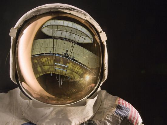 Air and Space: Apollo Helmet Visor reflecting the 1903 Wright Flyer--Photographic Print
