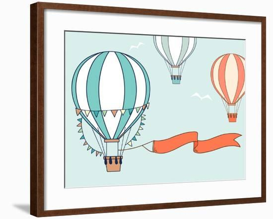 Air Balloons with Party Ribbon, Flags and Birds. Vector Illustration-Olga Yatsenko-Framed Art Print