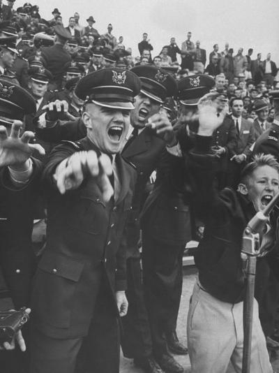 Air Force Academy Cadets Cheering During Game-Leonard Mccombe-Photographic Print