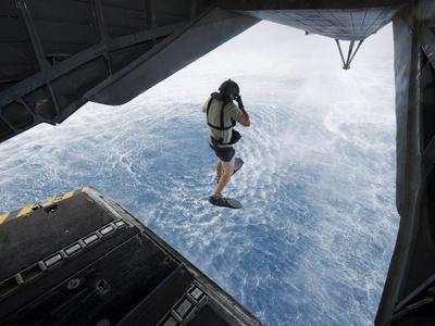 Air Force Pararescueman Jumps from a CH-53E Super Stallion Helicopter-Stocktrek Images-Photographic Print