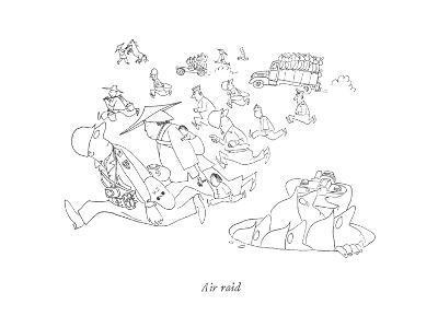 Air raid - New Yorker Cartoon-Saul Steinberg-Premium Giclee Print