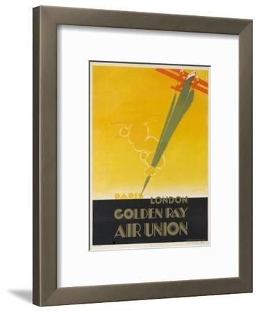 Air Union 1920s Travel Poster Paris London Golden Ray
