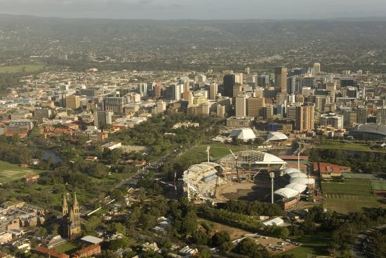 Air View of Downtown Adelaide, South Australia, Australia, Pacific-Tony Waltham-Photographic Print
