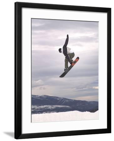 Airborne Snowboarder--Framed Photographic Print