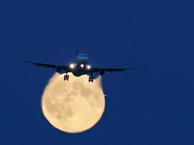 Airbus 330 Passing In Front of the Moon-David Nunuk-Photographic Print