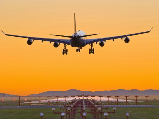 Airbus 340 Landing at Vancouver International Airport, British Columbia, Canada-David Nunuk-Photographic Print