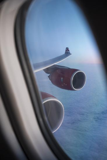 Airbus A340 Aircraft, View Out of the Window with Engine and Wing-Jon Arnold-Photographic Print