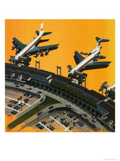 Aircraft at an Airport--Giclee Print