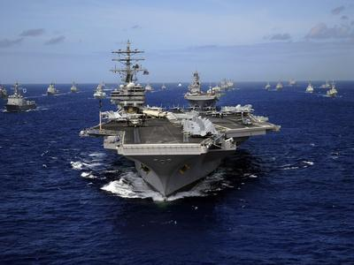Aircraft Carrier USS Ronald Reagan Leads a Mass Formation of Ships Through the Pacific Ocean-Stocktrek Images-Photographic Print
