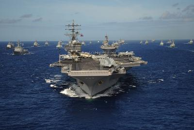 Aircraft Carrier USS Ronald Reagan Leads Allied Ships on Pacific Ocean, July 2010--Photo