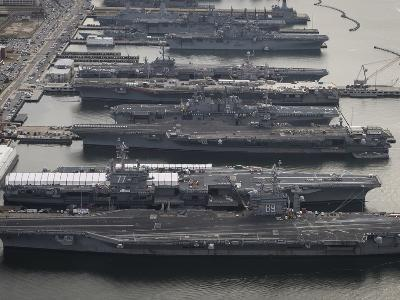 Aircraft Carriers in Port at Naval Station Norfolk, Virginia-Stocktrek Images-Photographic Print